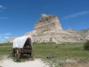 Planwagen im Scotts Bluff National Monument, Nebraska